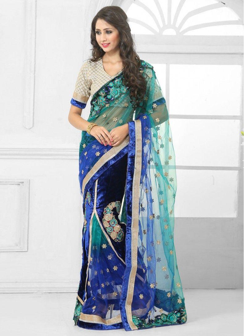 Velvet saree images wedding blue velvet designer lehenga saree  sarees  pinterest