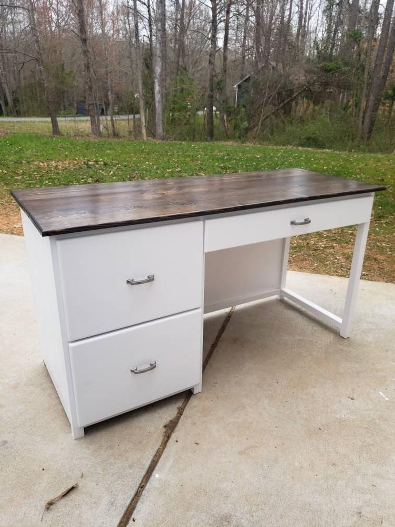 Farmhouse computer desk with drawers rustic computer