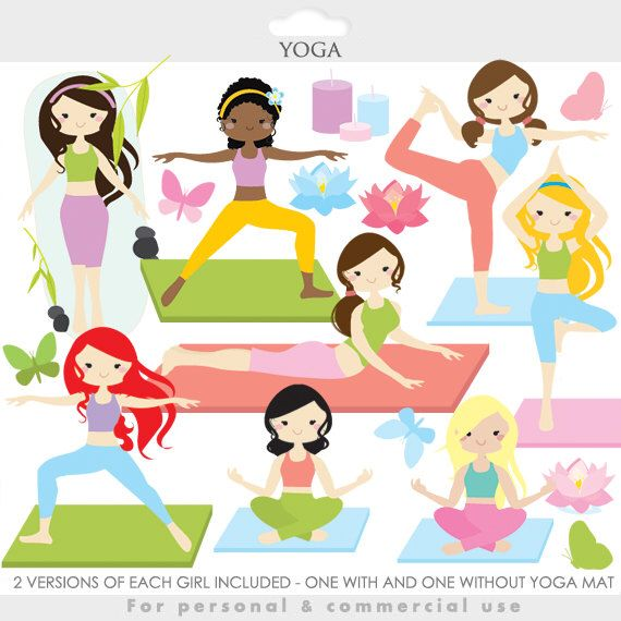 Yoga Clipart Yoga Clip Art Girl Gals Fitness Meditation Spiritual Health Gym Practice Hindu For Personal And Commerci Clip Art Yoga Spiritual Health