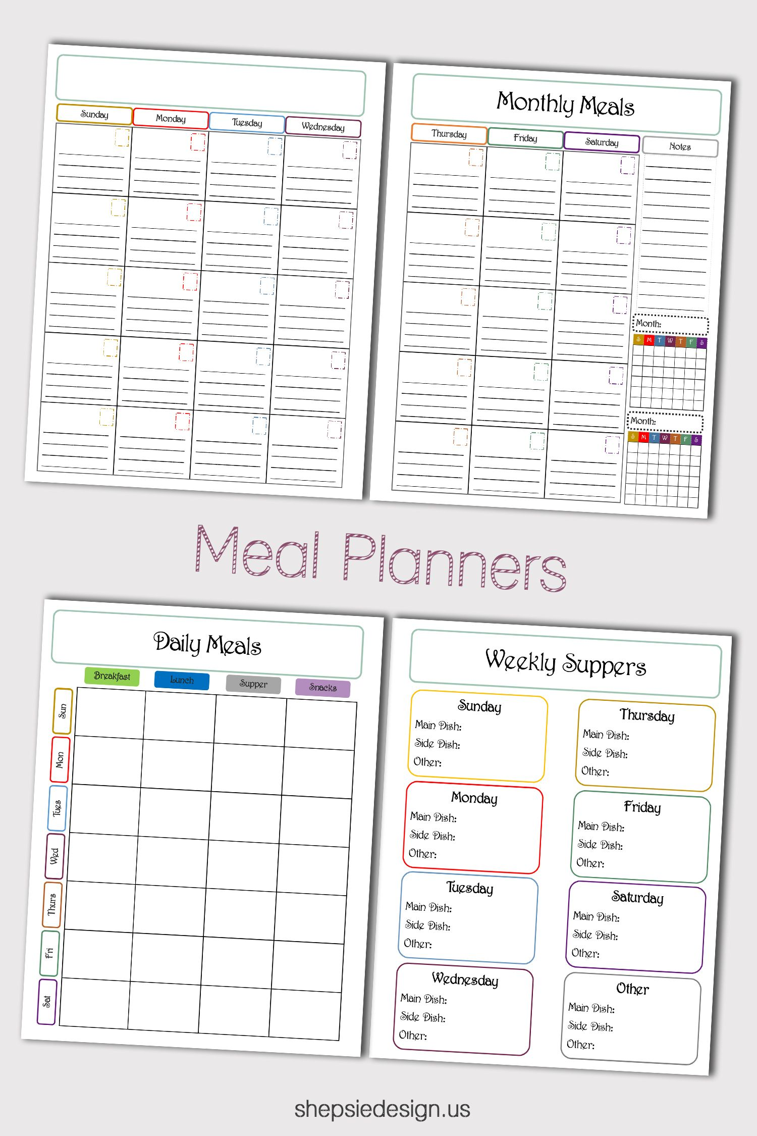 Plan Your Monthly Meals Daily Meals And Weekly Suppers All This