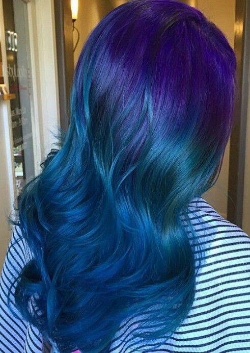 Blue And Purple Fade Blue Hair Hair Color Blue Ombre Hair Blonde