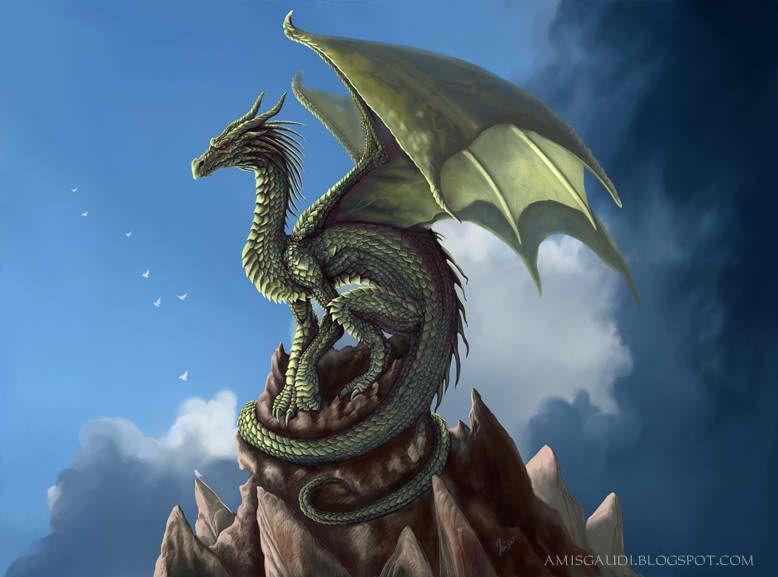European Dragon On Mountain  Dragons Pinterest