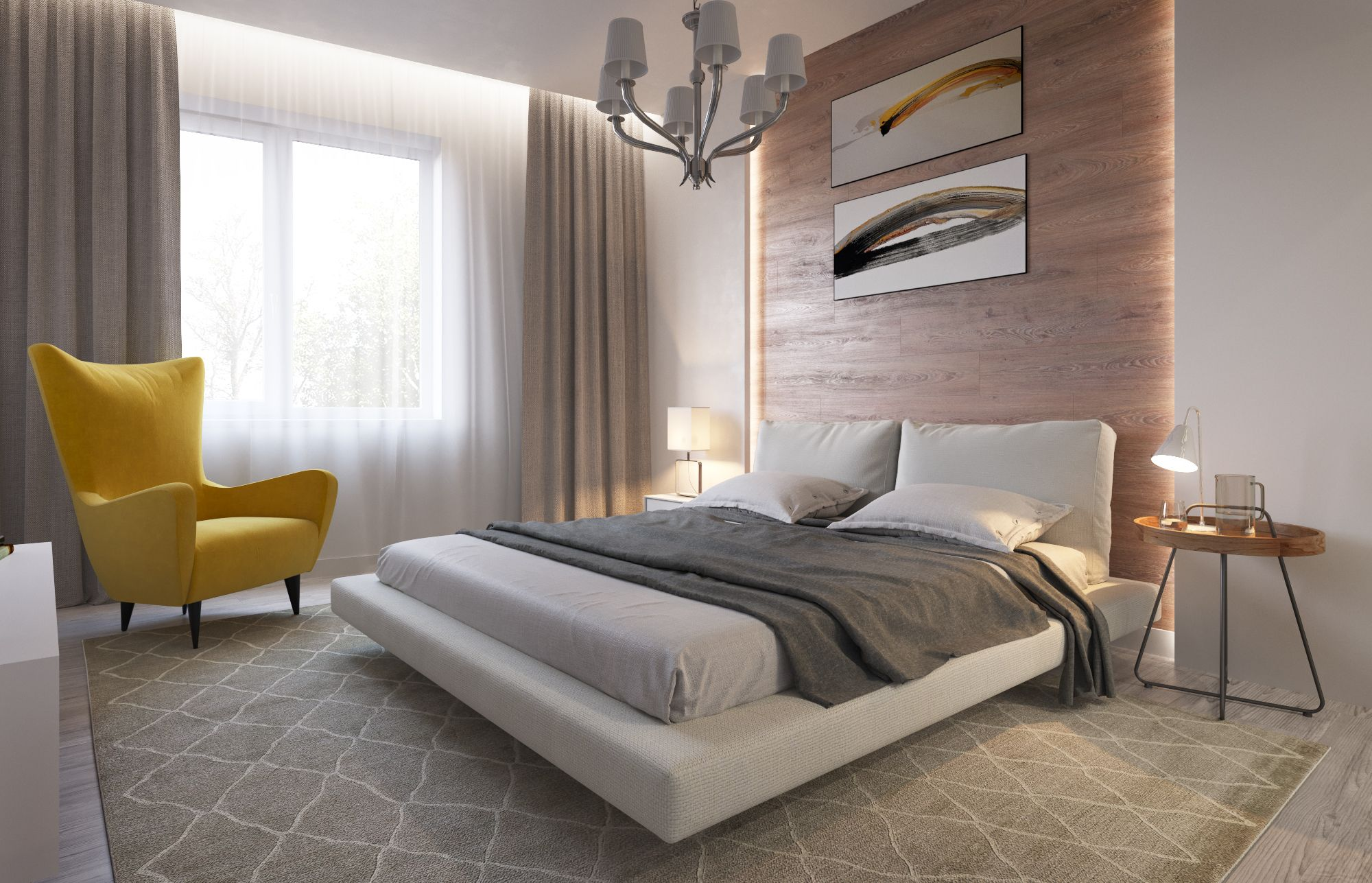Interior Design Of A Light Bedroom With A Podium Bed
