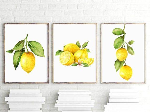 Lemon Print Lemon Art Prints Or Canvas Set Of 3 Watercolor Etsy Lemon Art Farmhouse Art Lemon Print