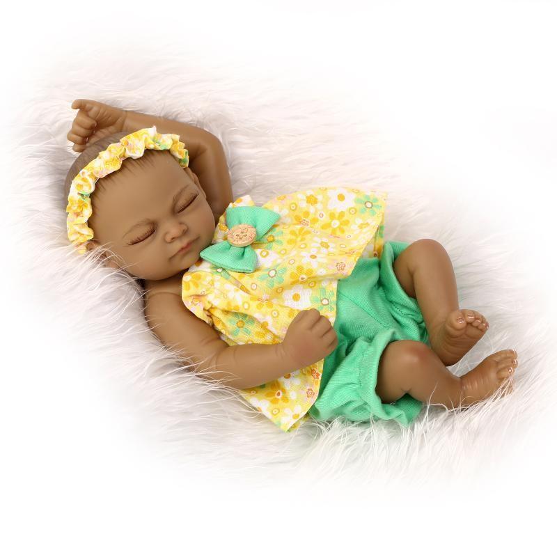 Npk Black Reborn Baby Doll 10 Inch Soft Silicone Doll African American Baby Dolls Reborn Dolls Silicone Reborn Dolls