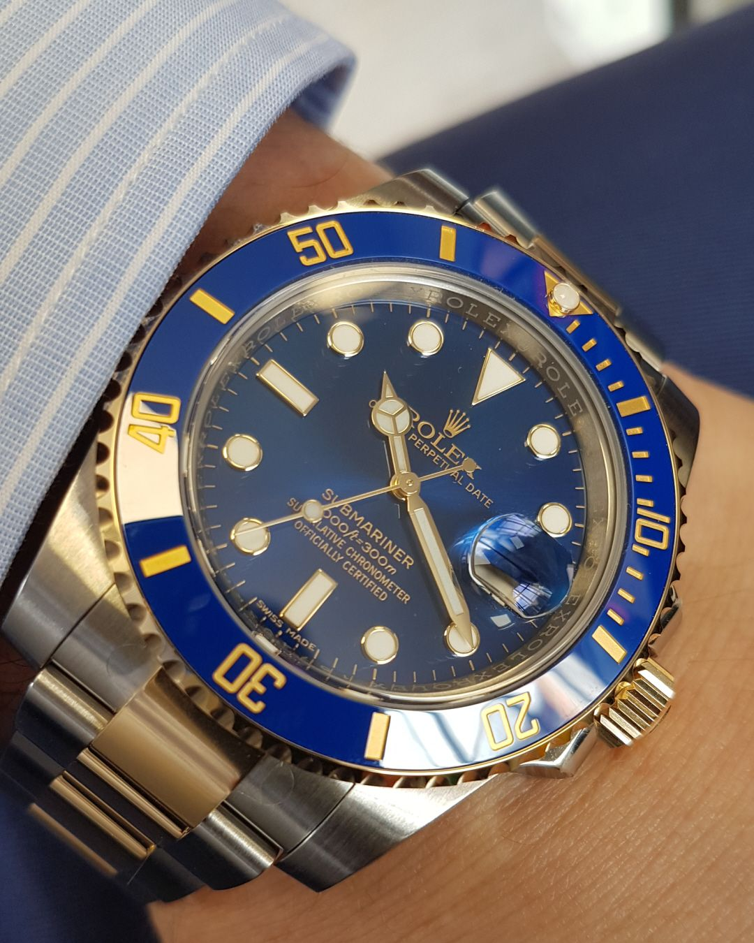 5ae6e930509 Rolex Submariner Steel   Gold Blue 116613LB