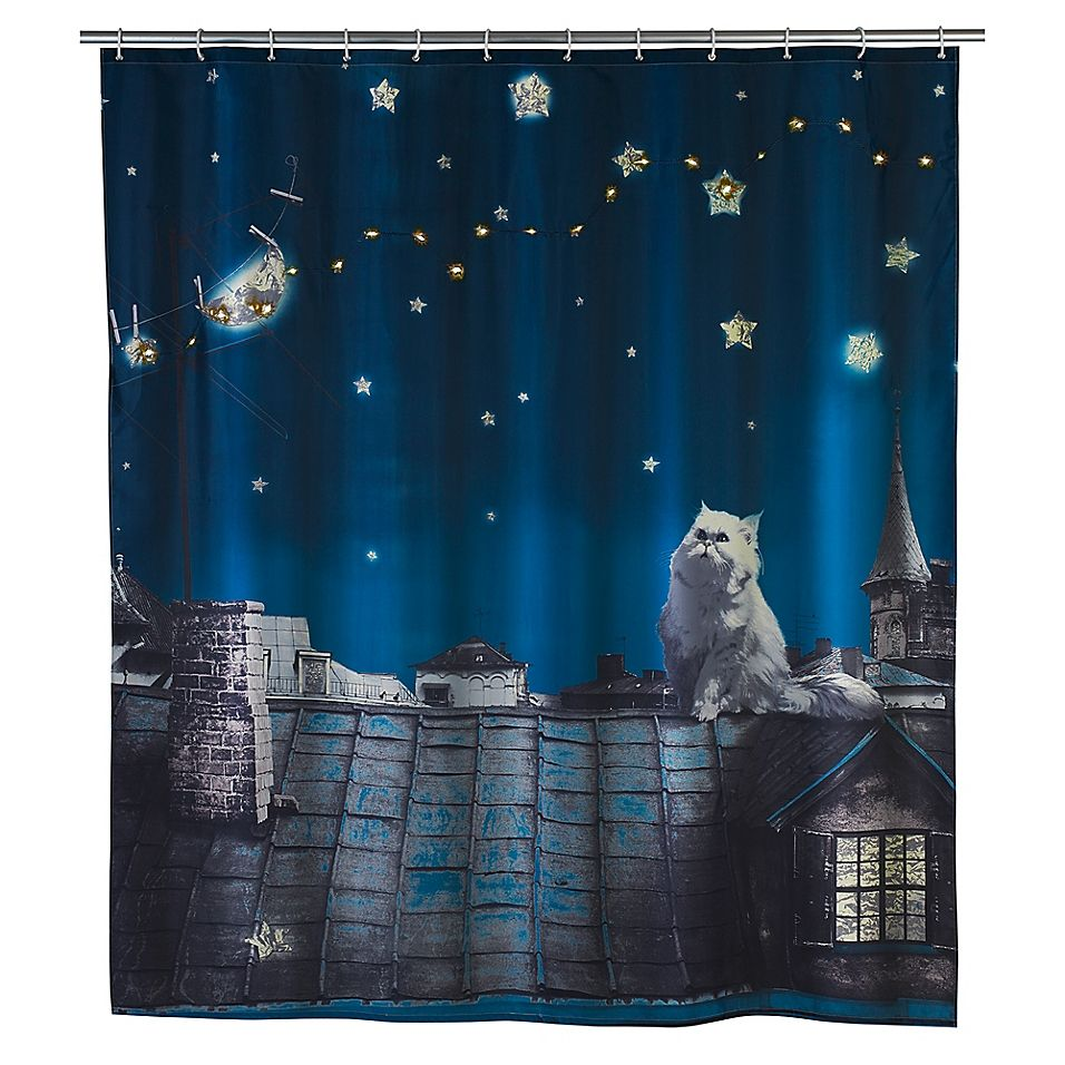 Led Moon Cat Shower Curtain Cat Shower Curtain Shower Curtain