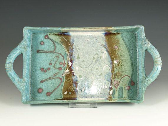 Rectangular Serving tray in Turquoise handmade by Hodakapottery