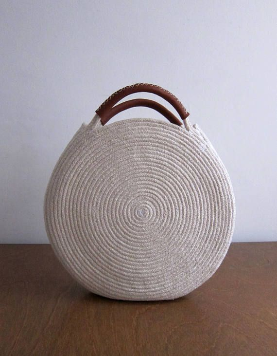 Round Basket Bag with Leather Handles