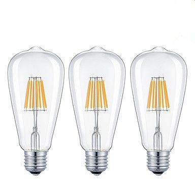 32 49 Kwb 3pcs 7 W 720 Lm E26 E27 Led Filament Bulbs St64 8 Led Beads Cob Dimmable Warm White Cold White 220 240 V 110 130 V 3 Pcs Rohs Ce Certif Led Light Bulb Filament Bulb Bulb