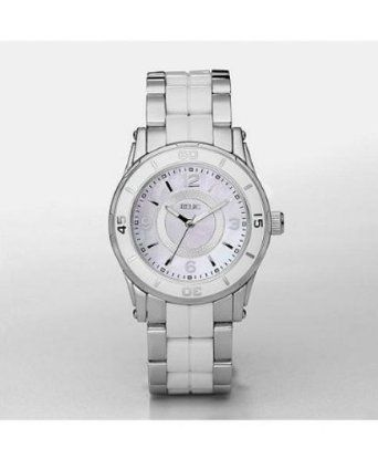 Relic By Fossil Hannah Ladies White Resin Links Mop Quartz Dress Watch  ZR11883