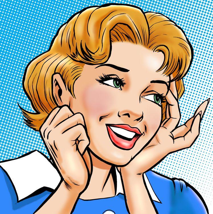 Image by Shutterstock Pop Art Girl Phone Talk Bla Bla Women/'s Tee