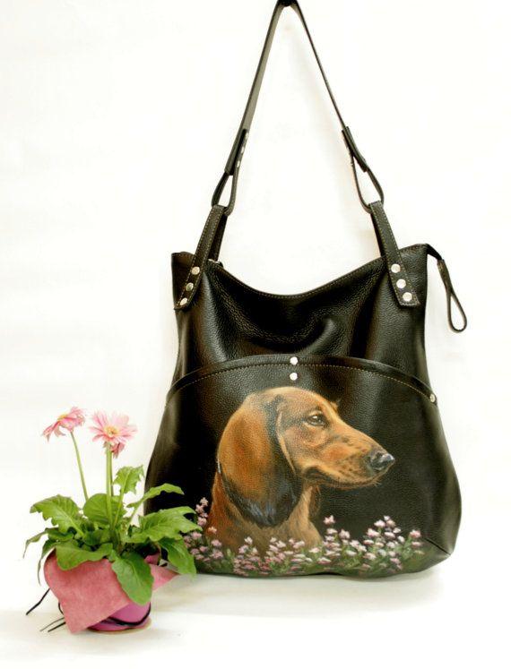 Black Leather bag. Pet portrait painted purse.