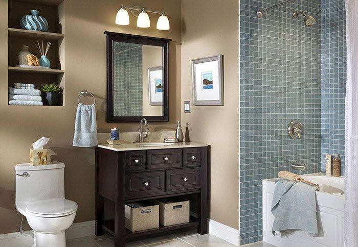 Dark Brown Espresso Bathroom Vanity With Light Blue Tiled