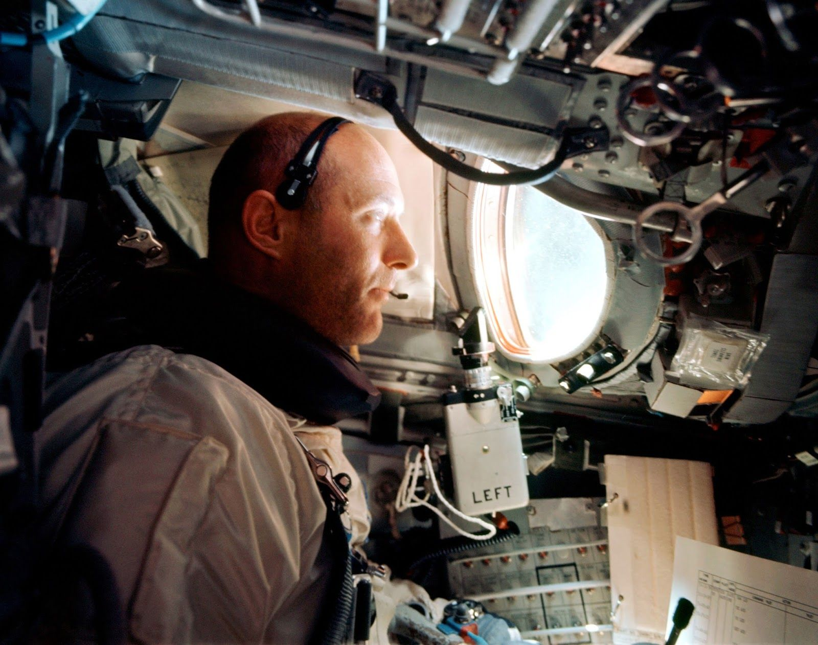 Shortly after reaching orbit on June 3, 1966, Gemini IXA command pilot Tom Stafford is seen at the controls during the mission to rendezvous with an Augmented Target Docking Adapter. Image Credits: NASA/Eugene Cernan.