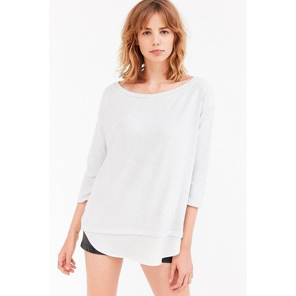 Silence + Noise Aimee Chiffon Shirttail Pullover Top (65 CAD) ❤ liked on Polyvore featuring tops, sweaters, relaxed fit tops, white chiffon top, white pullover sweater, white pullover and sweater pullover