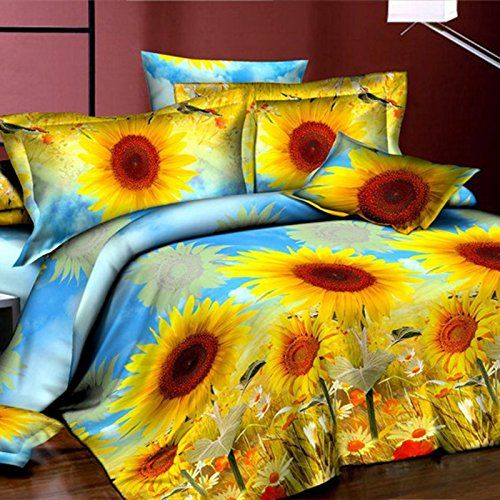 Meidus 4pcs Sets Sunflower 3d Printed Cover Sets Decorative Romantic Bedding Sets Floral Print Bedding Funky Bedding Print Bedding