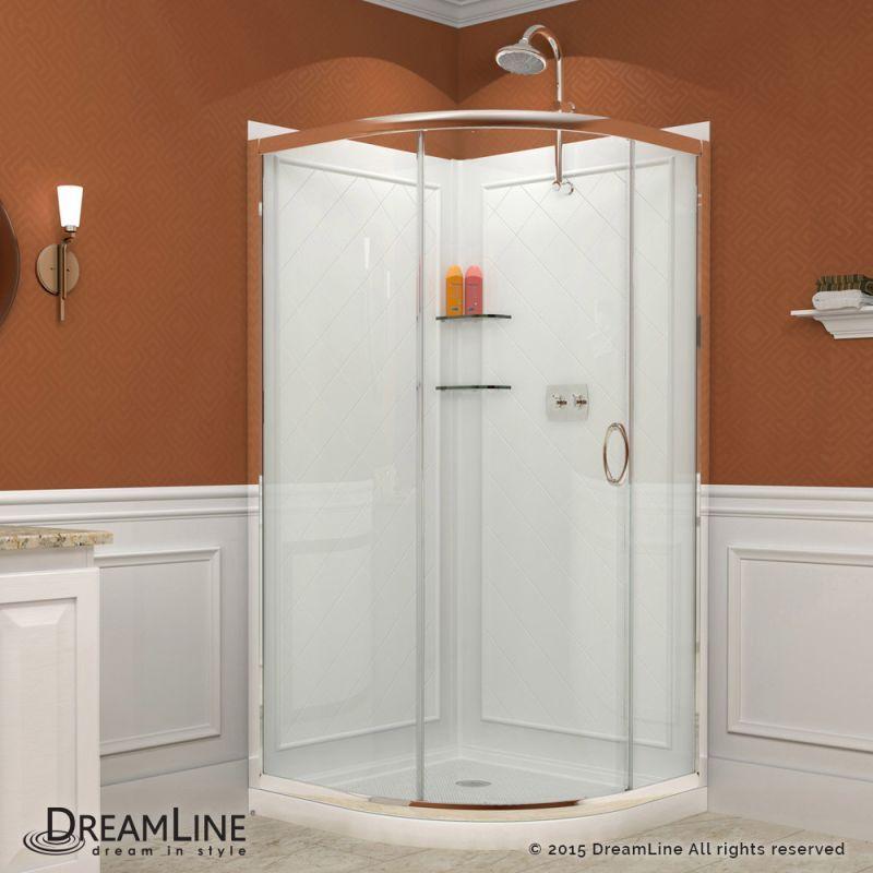 "Dreamline DL-6156-CL Solo 76-3/4"" High x 36"" Wide x 34-3/8"" Deep Sliding Framed Chrome Showers Shower Enclosures Round"