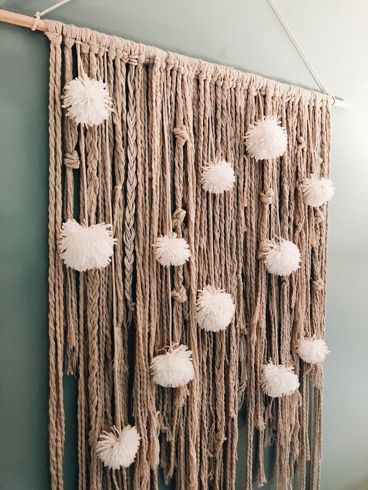 Rope and Pom Wall Hanging by likeHome-online!