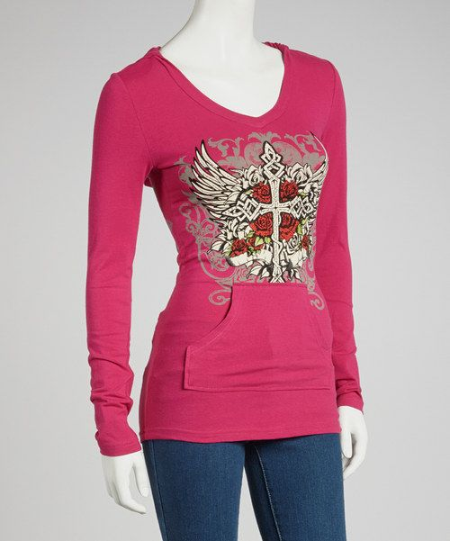 Take a look at this Hot Pink Angels & Roses Long-Sleeve Top - Women on zulily today!