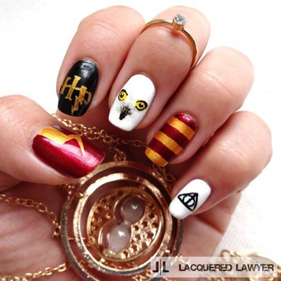 Photo of Harry Potter themed nail art.  Perfect for these dark autumn days. – #Art #autum…