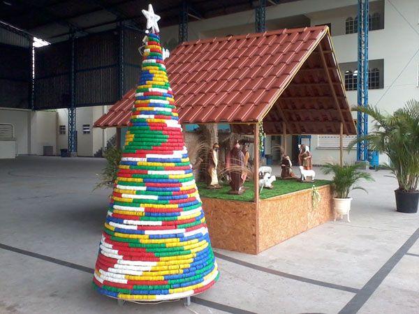 Natal Decoracao Sustentavel Garrafa Pet Tampinha Tampinhas