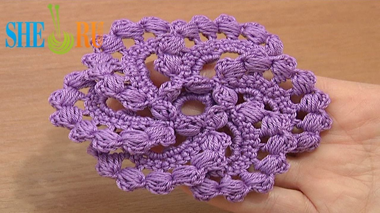 Crochet Spiral 6-Petal Flower Tutorial 60 part 2 of 2 Puff Stitches ...