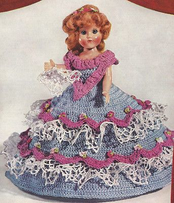 Vintage Crochet Pattern To Make Doll Clothes Fancy Dress Petticoat