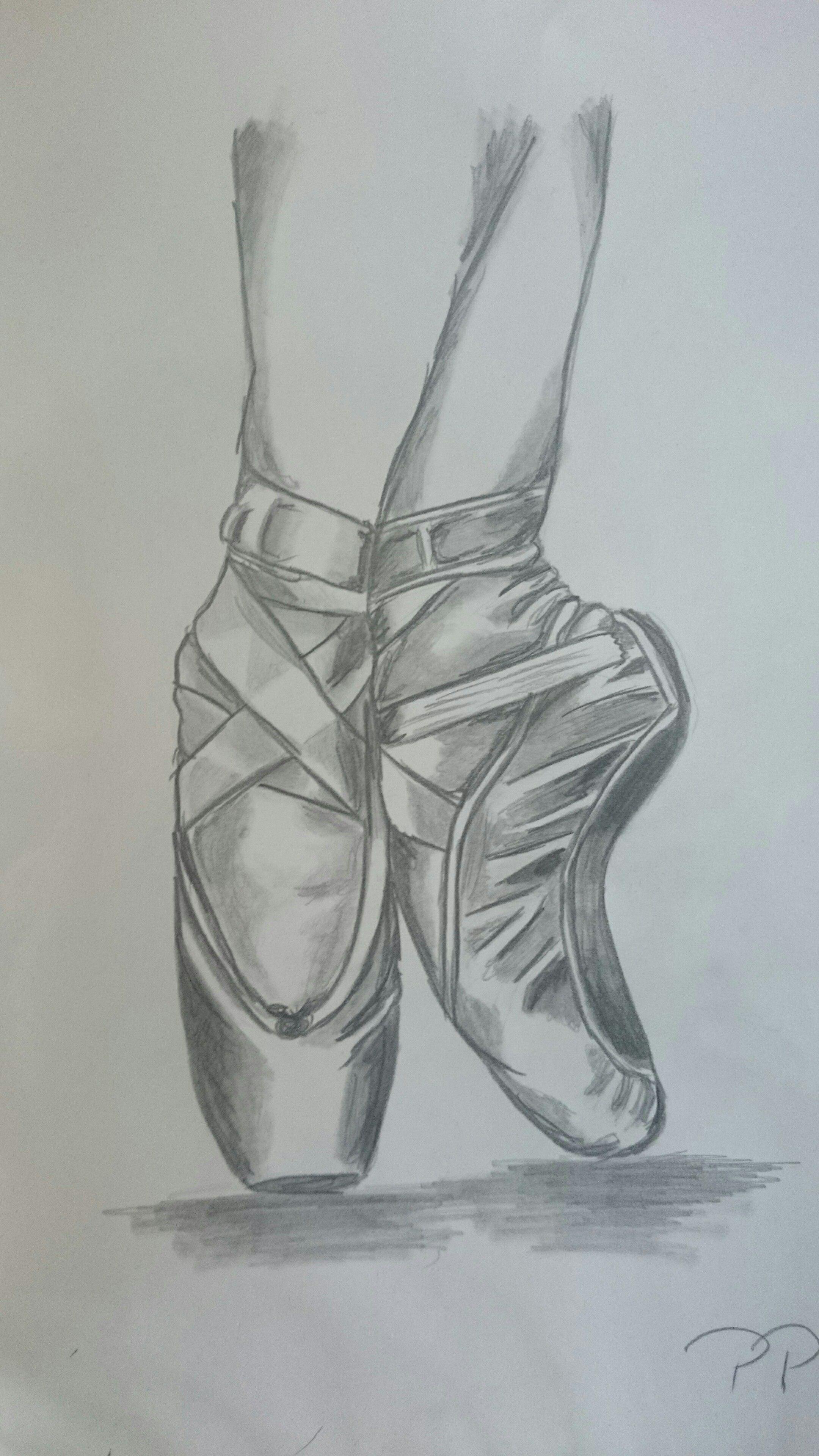 Ballerina Schuhe Bleistiftzeichnung | Bleistiftzeichnung
