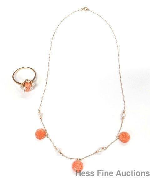 Vintage 1950s Designer Signed 14k Gold Angel Skin Coral Pearl Necklace Ring Set