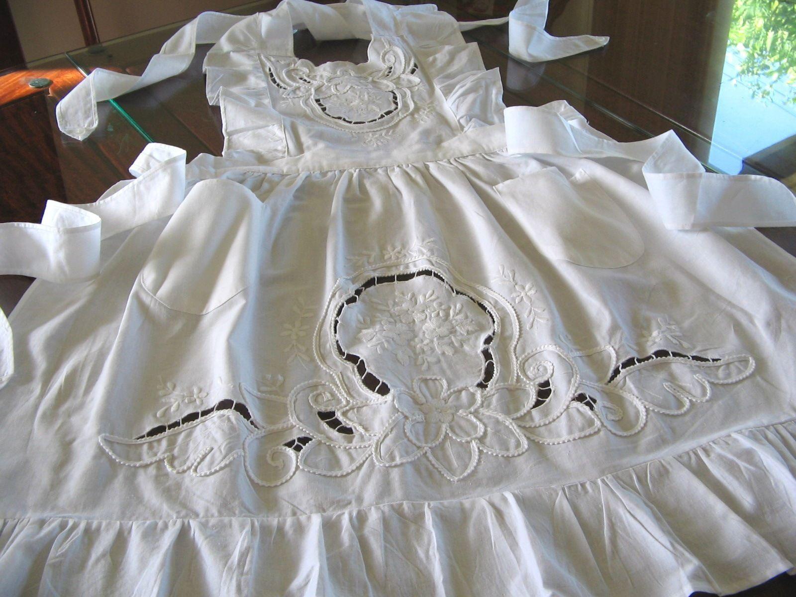 White lace apron ebay - White Victorian Shabby Cottage Lady Rose Embroidery Ruffle Smock Maid Bib Apron Ebay