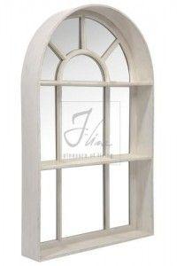 Miroir fenetre bois patin blanc cr me d co cosy miroirs trumeaux arch mirror mirror ve for Fenetre miroir decoration