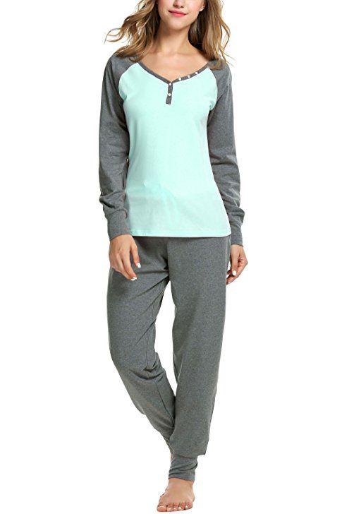 Sweetnight Women s Boat Neck Long Sleeve Shirt Elastic Waist Pants  Sleepwear Pajamas Set at Amazon Women s Clothing store  9a277239f