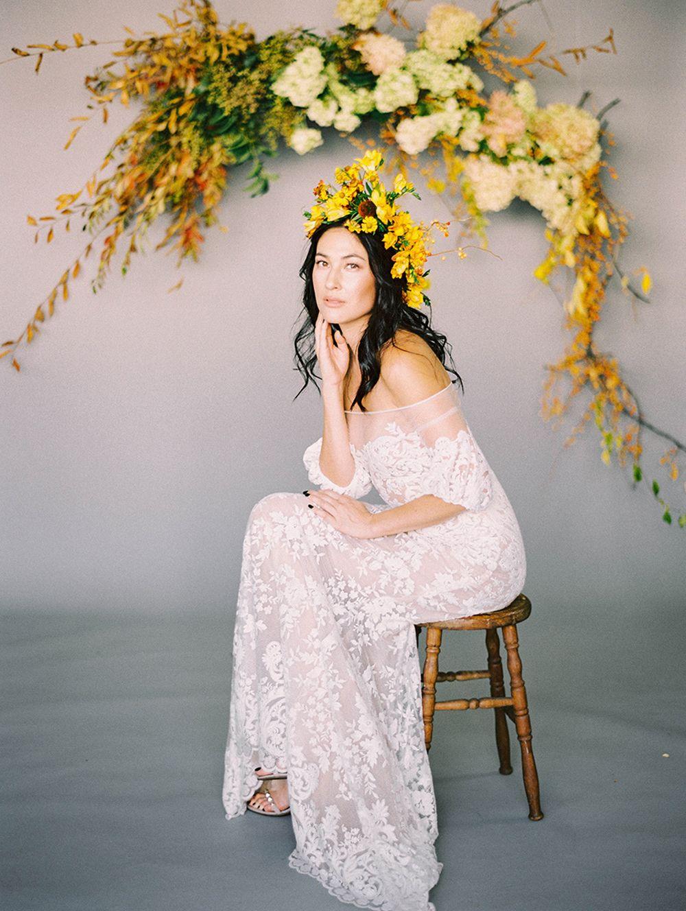 Liz martinez bridal gown golden autumn wedding fall wedding