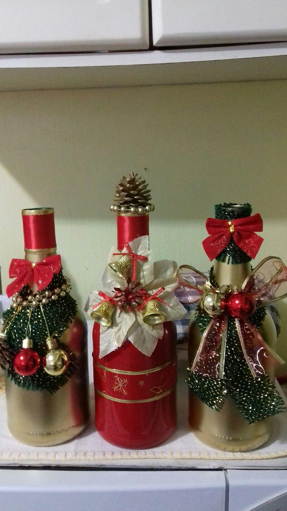 Botellas navide as navidad pinterest christmas christmas wine bottles y bottle crafts - Botellas decoradas navidenas ...