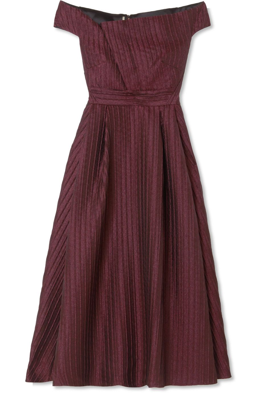 Bentham Off-the-shoulder Metallic Plissé-organza Midi Dress - Grape Roland Mouret