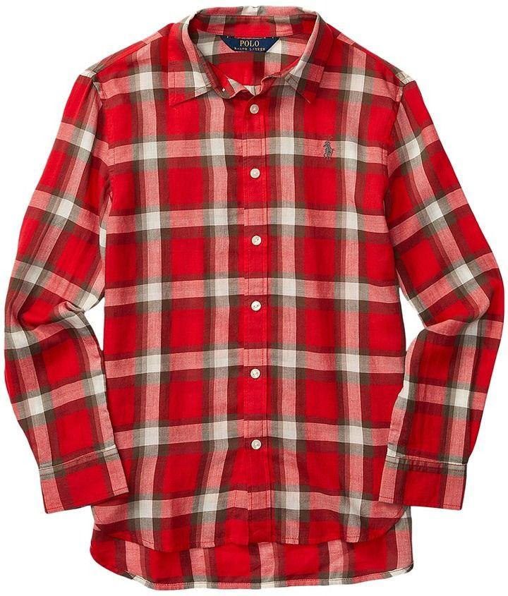 Polo Ralph Lauren Feather Weight Twill Plaid Shirt (Big Kids)