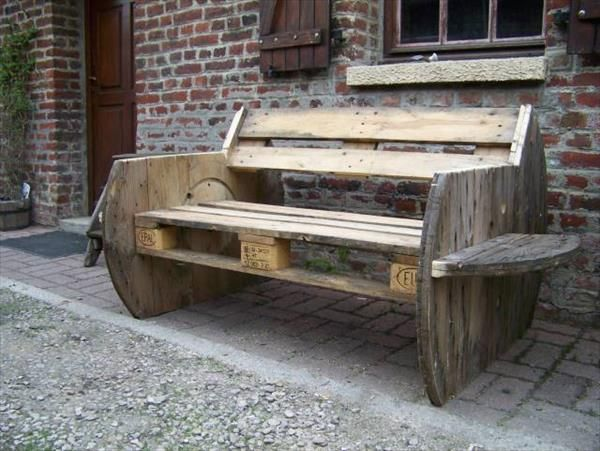 DIY Pallet and Cable Drum Benches   Holzbank, Holz und Gärten