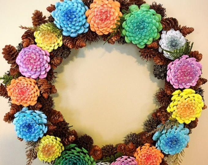Wreath. Pine Cone Wreath, White Pine. Green. Door Wreath, Wall Decor ...