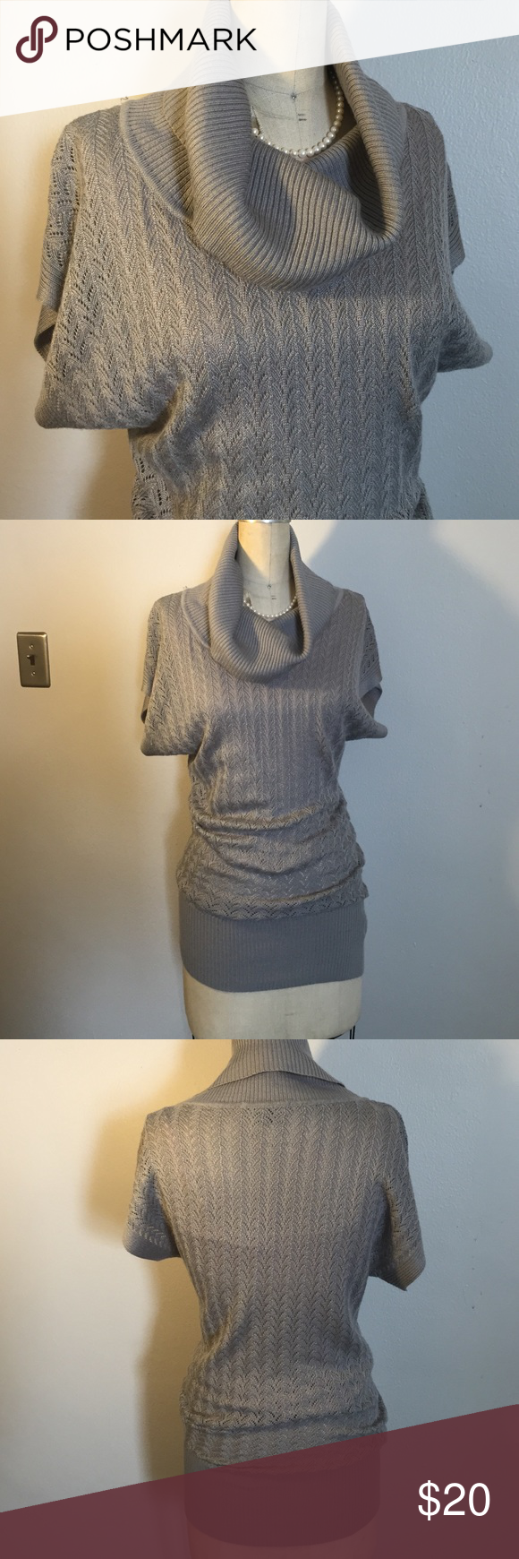 Silvery grey cowl neck tunic Lightweight, open knit, soft and stretchy. Very carefully worn. Pair it with dark tights and knee high boots and you're good to go! 🙋 Tops Tunics