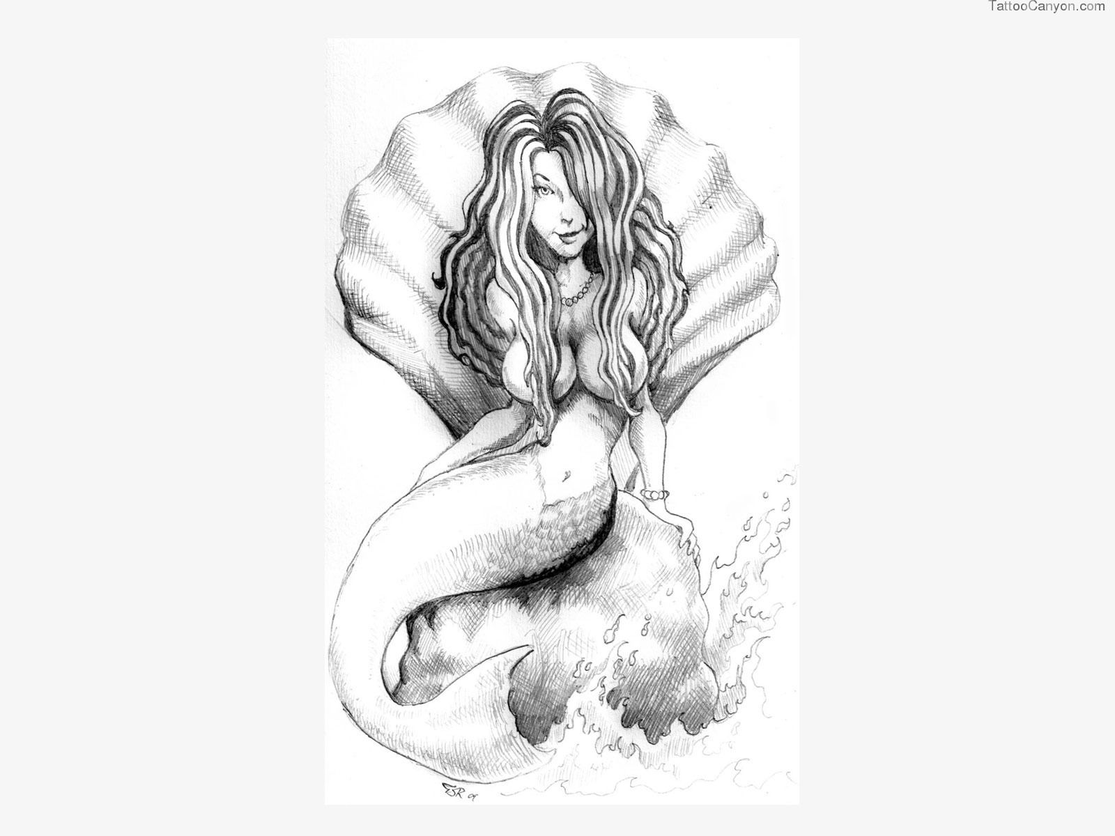 Free Designs Mermaid Is Sitting On The Stone Tattoo Wallpaper Tattoo