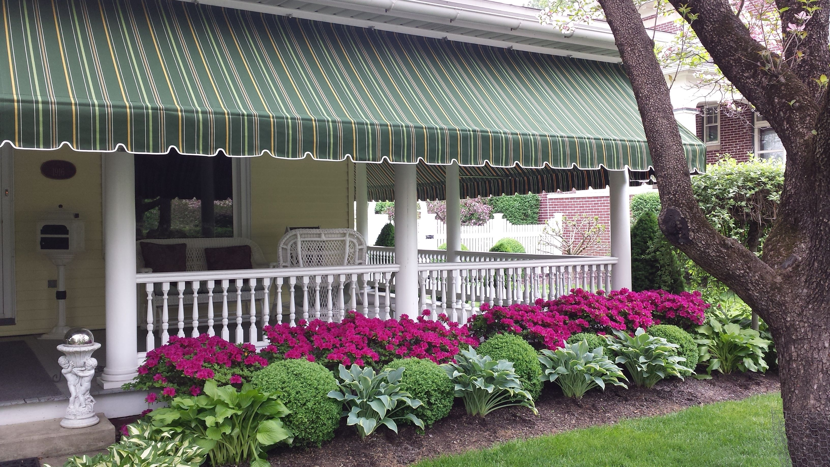Beautiful striped Sunbrella porch awning | Awning | Pinterest ...