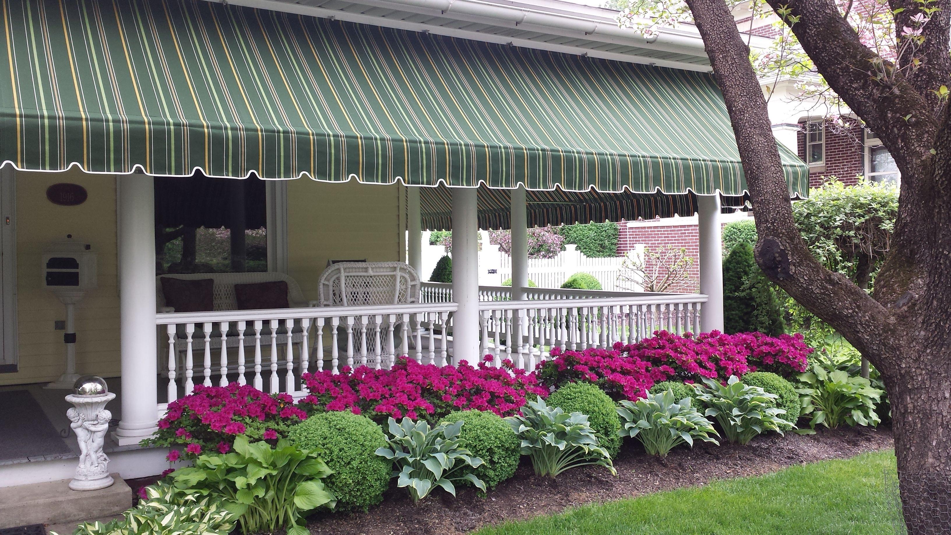 Beautiful Striped Sunbrella Porch Awning