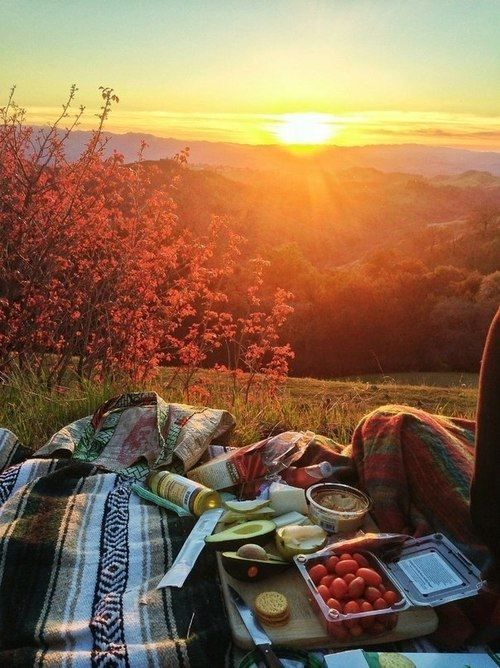 Take dinner outside and pack a picnic to watch the sunset with your sweetie