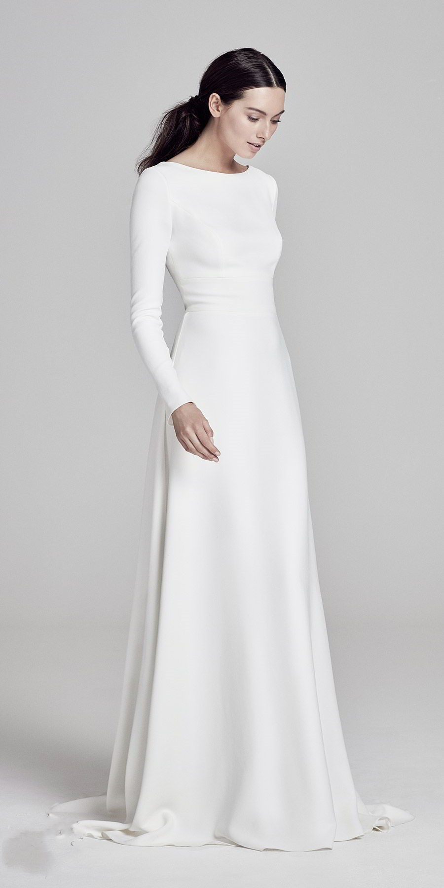 Elegant Satin Floor Length Wedding Dress,Simple Round Neck Long Sleeves Bridal Dress.W651 -   18 dress Simple pictures ideas