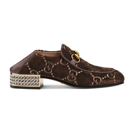 e5a77f175ba Horsebit GG velvet loafer with crystals - Gucci Women s Moccasins   Loafers  5226989JT802093