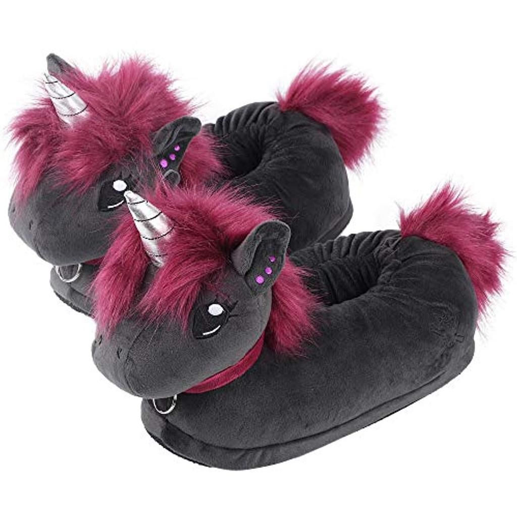 Gothic Unicorn Fuzzy Plush Slippers Animal Slippers Unicorn Slippers Cute Slippers