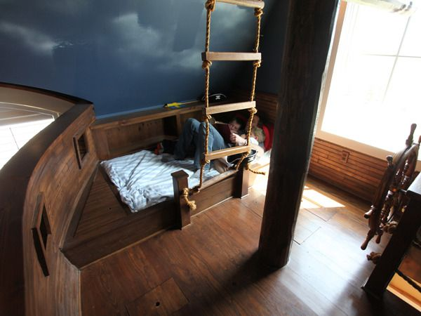 Kinderzimmer Pirat Gestalten kinderbett piraten schiff leiter zum ausguck knopfideen