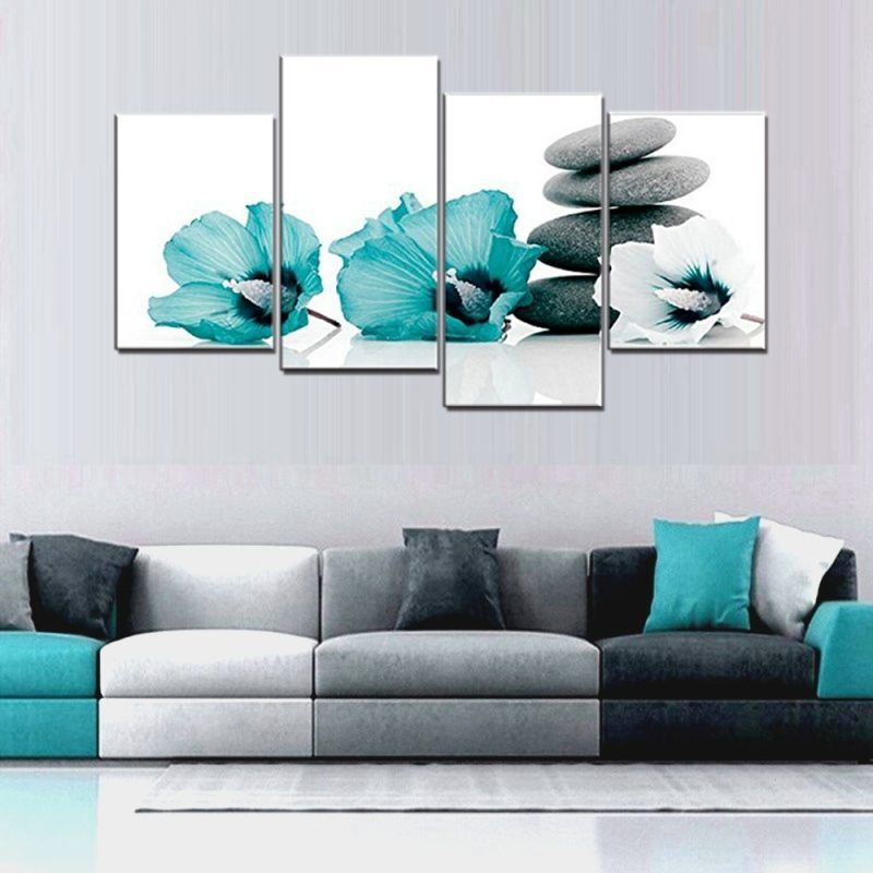 large teal grey and white lily floral canvas wall art on large wall art id=53177