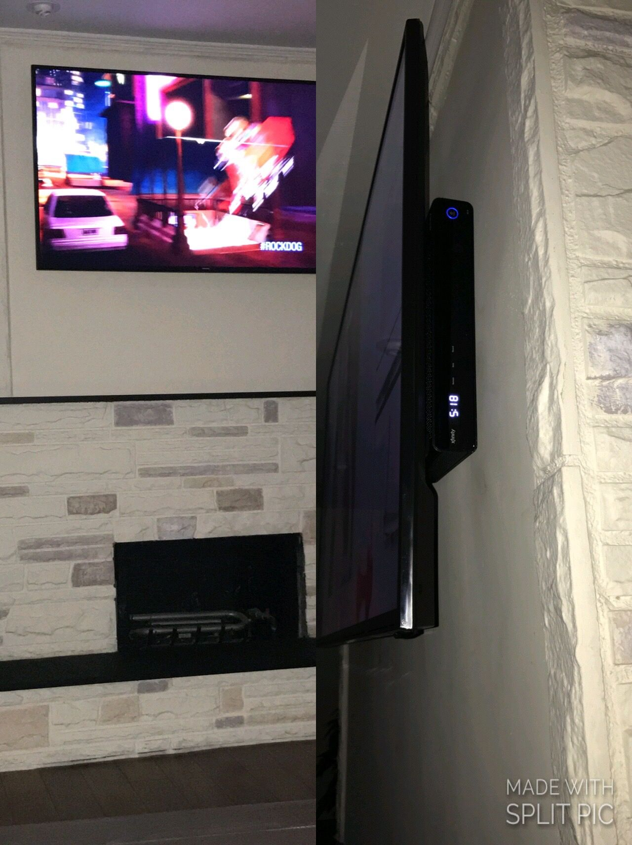 Tv Mounted Above Fireplace Hide Cable Box And Wires By